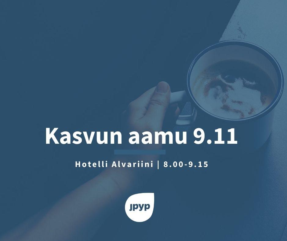 Kehitysjohtaja Mikko Isoniemi JPYP Kasvun aamun vieraana 9.11. Hotelli Alvariinissa. Tilaisuuden teemana yrityksen liiketoiminnan laajentaminen ja kasvu
